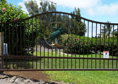 Brown residential gate with green sea turtle motif in the center.